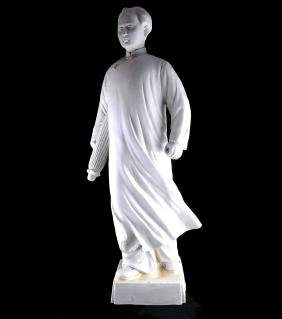 Chinese Bisque Porcelain Figure of Mao