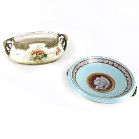 Two European Glazed Porcelain Dishes