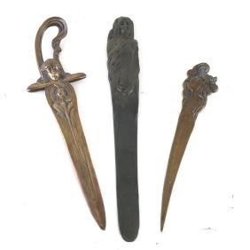 Three Art Nouveau-Style Bronze Articles