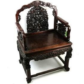 Chinese Carved Hardwood Armchair