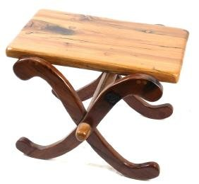 Carved Polished Hardwood Stool