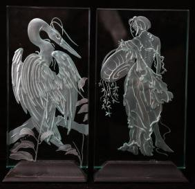 Two Acid Etched Glass Panels