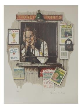 Norman Rockwell Lithograph, Ticket Agent