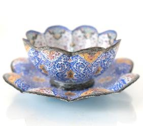Persian Enamel Bowl and Plate