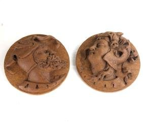 Pair of Wood Carved Plaques