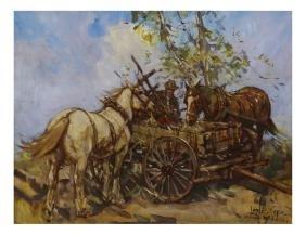 Leslie Cope, Horses Feeding -  Oil On Canvas