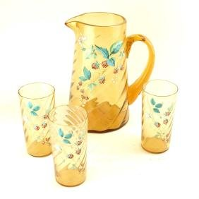 Enameled & Mold Blown Glass Iced Tea Set