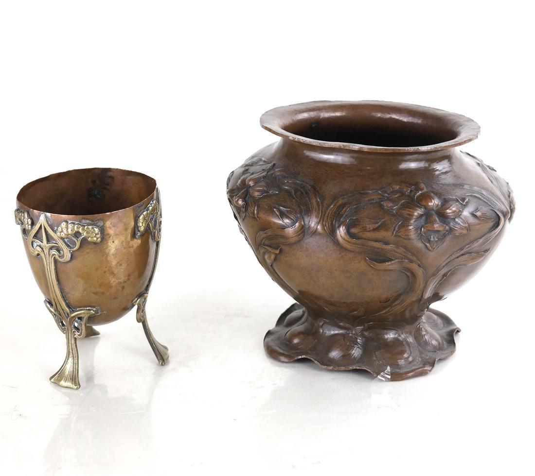Two French Art Nouveau Copper Articles