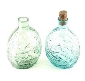 Two American Mold Blown Glass Flasks