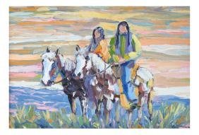 Tom Waugh, Native American Pueblo Riders, Painting
