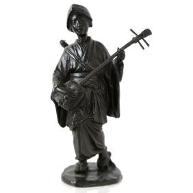 Japanese Meiji Bronze Woman with Mandolin