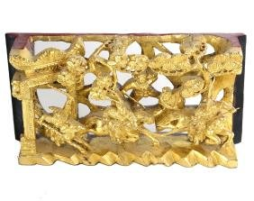 Chinese Gilt Carved wood Battle Scene