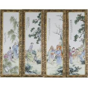 Four Chinese Painted Famille Rose Porcelain Plaques