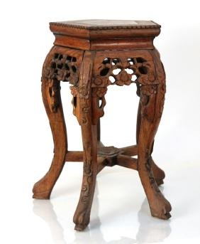 Chinese Marble Top Teak Taboret Table Stand