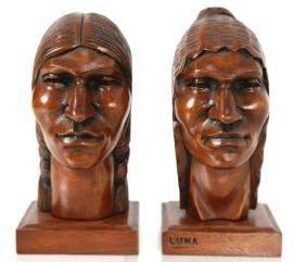 South American Indian Carved Wood Bust