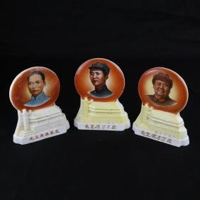 Three Chinese Porcelain Mao Portrait Disks