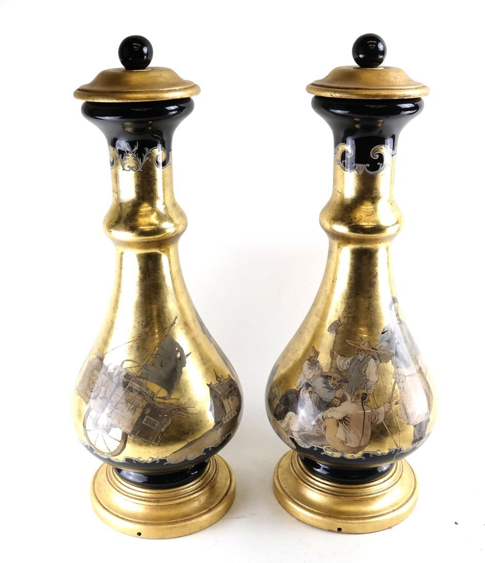 Pair of Chinoiserie Glass Vases