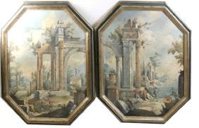 Pair of Italian Framed Landscape Paintings