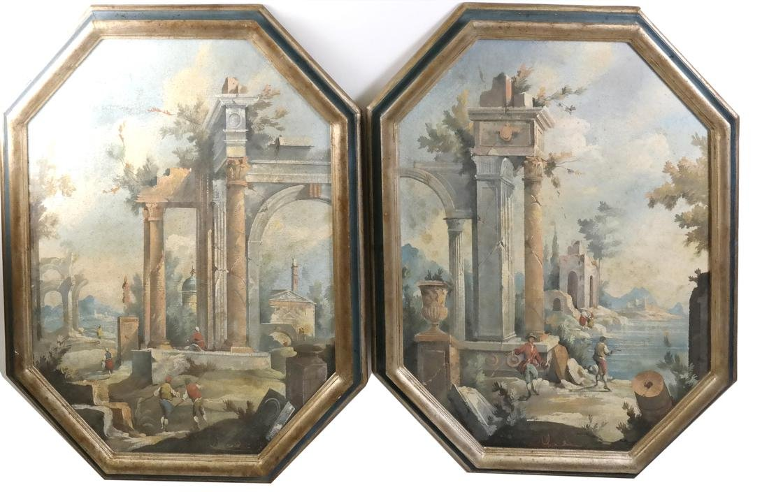 Pair of Italian Framed Landscape Paintings