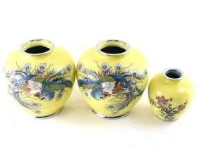 Three Japanese Closionne Vases
