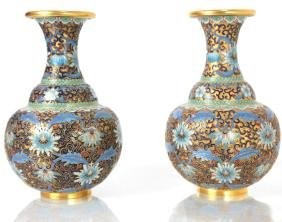 Pair of Chinese Cloisonne Enamel Vases