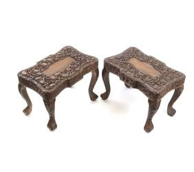 Pair of Chinese Hardwood Stools