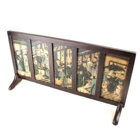 Chinese Enameled Hardstone Table Screen