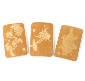 Three Chinese Carved Bamboo Tiles
