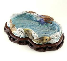 Chinese Porcelain Dragon/Wave Dish