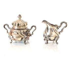 German .830 Standard Silver Creamer & Sugar Bowl
