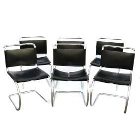 Six Modern Tubular Chrome Chairs