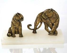 Art Deco Bronze Tiger Group
