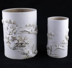 Two Porcelain Chinese Brush Pots
