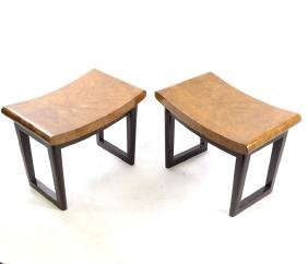 Pair of Art Deco-Style Burl Benches