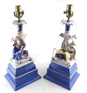 Pair of Old Paris Figural Lamps