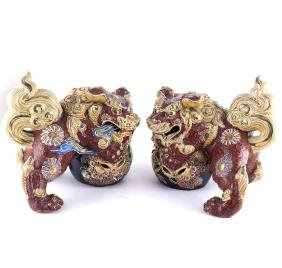 Pair of Satsuma Foo Lions