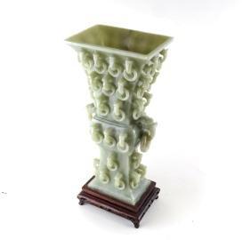 Chinese Carved Jade Urn & Base