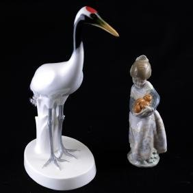 Porcelain Crane and Lladro Girl
