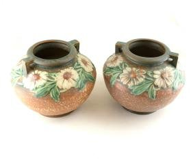 Pair of Roseville Dahlrose Vases