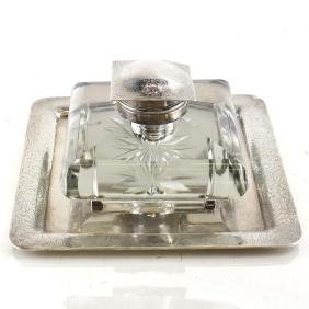 American Sterling Silver/Glass Inkwell