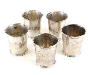 5 American Silver Miscellaneous Beakers