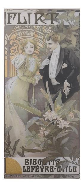 """Alphonse Mucha, """"Flirt """"- Lithograph"""
