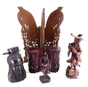 Group of Six Chinese Wood Objects