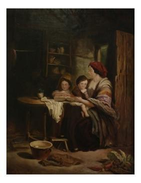Thomas Faed, Interior Scene - Oil On Canvas