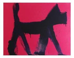 "Peter Mayer, ""Purple Dog"" - Acrylic On Canvas"