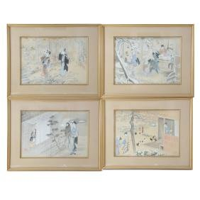 Suite of Four Showa Japanese School Watercolors