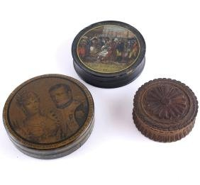 Three Early snuff  Boxes