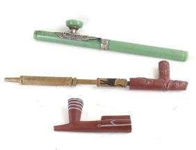 Three Chinese and Native American Pipes