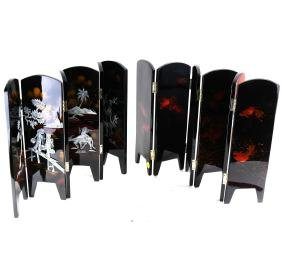 Two Lacquered Table Screens