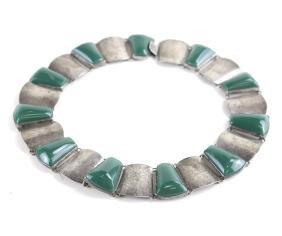 Silver & Green Hardstone Choker Necklace